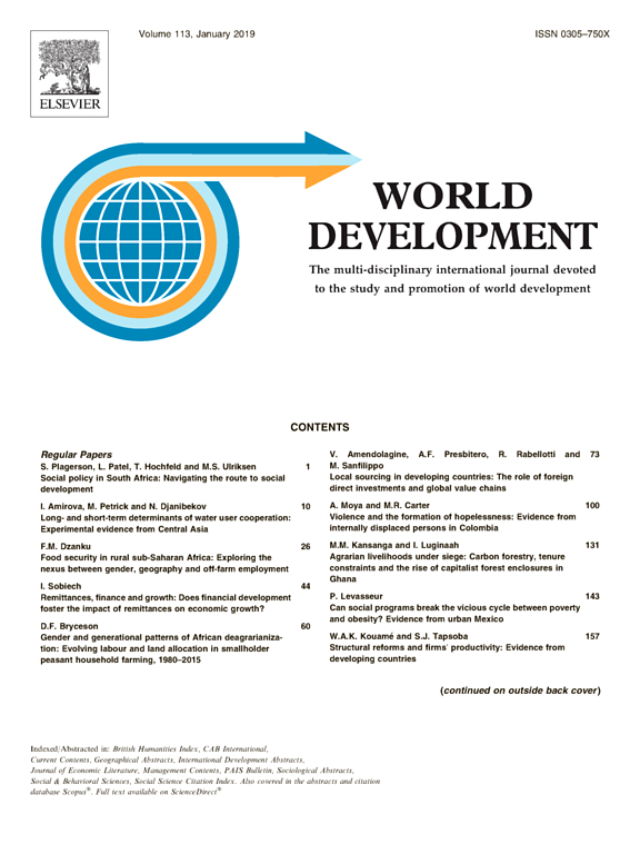 Environmental Income and Rural Livelihoods: A Global-Comparative Analysis