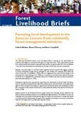 Favouring local development in the Amazon: lessons from community forest management initiatives