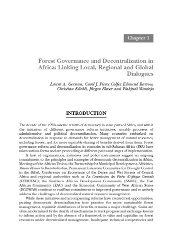 Forest governance and decentralization in Africa: linking local, regional and global dialogues