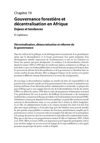 Gouvernance foresti�re et d�centralisation en Afrique: enjeux et tendances