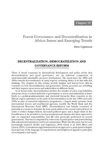 Forest governance and decentralization in Africa: issues and emerging trends