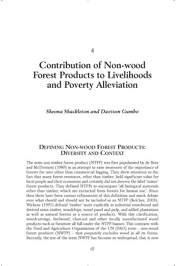 Contribution of non-wood forest products to livelihoods and poverty alleviation