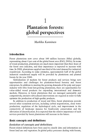Plantation forests: global perspectives