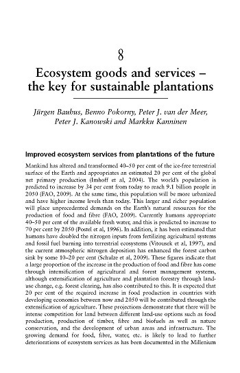 Ecosystem goods and services – the key for sustainable plantations