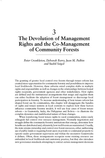 The devolution of management rights and the co-management of community forests