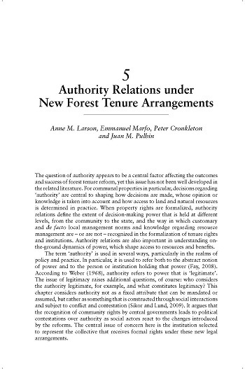 Authority relations under new forest tenure arrangements