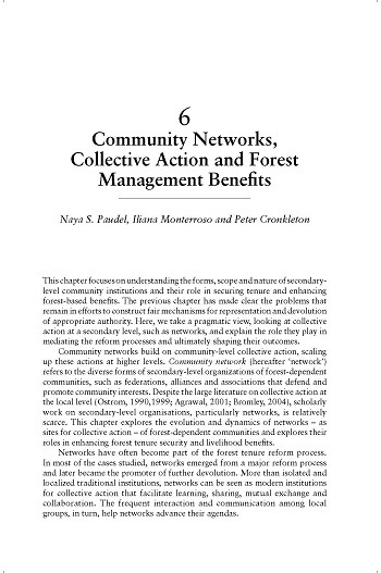 Community networks, collective action and forest management benefits