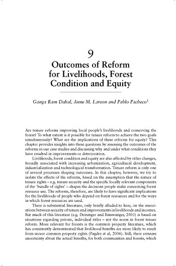 Outcomes of reforms for livelihoods, forest condition and equity