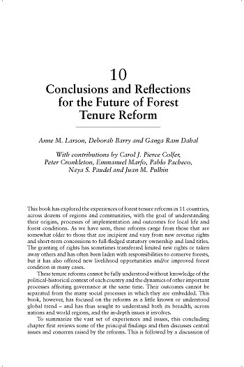 Conclusions and reflections for the future of forest tenure reform