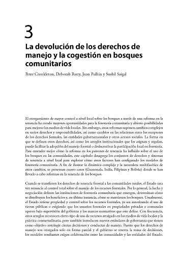 La devolución de los derechos de manejo y la cogestión en bosques comunitarios