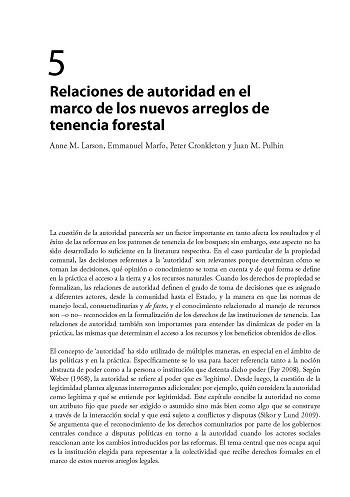 Relaciones de autoridad en el marco de los nuevos arreglos de tenencia forestal