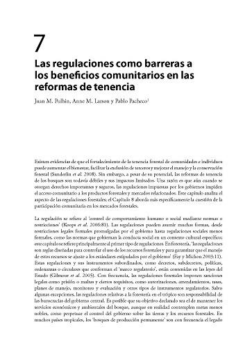 Las regulaciones como barreras a los beneficios comunitarios en las reformas de tenencia