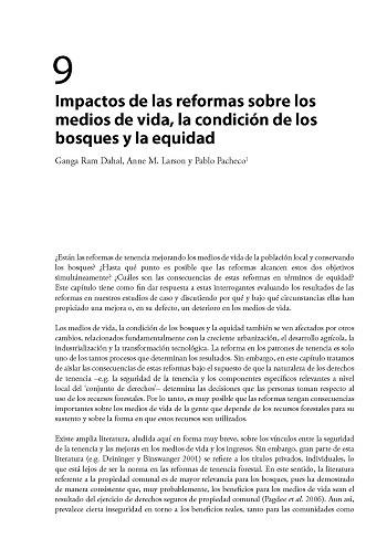 Impactos de las reformas sobre los medios de vida, la condición de los bosques y la equidad