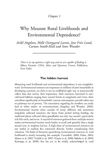 Why measure rural livelihoods and environmental dependence?
