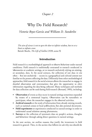 Why do field research?