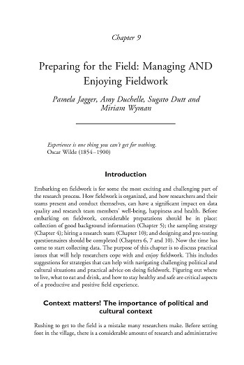 Preparing for the field: Managing and enjoying field work