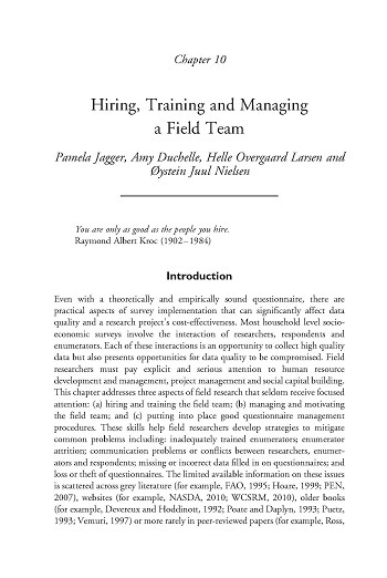 Hiring, training and managing a field team