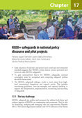 REDD+ safeguards in national policy discourse and pilot projects