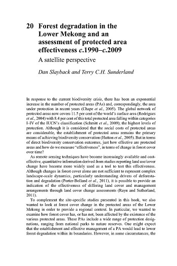 Forest degradation in the Lower Mekong and an assessment of protected area effectiveness c1990-c2009: a satellite perspective