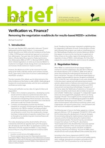 Verification vs. Finance?: Removing the negotiation roadblocks for results-based REDD+ activities