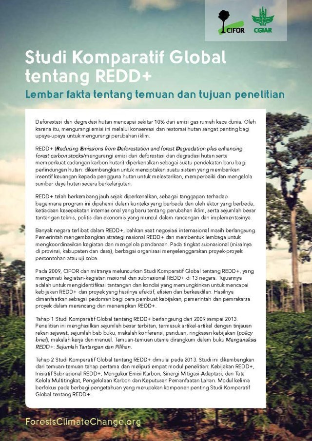 Studi Komparatif Global tentang REDD+: Lembar fakta tentang temuan dan tujuan penelitian