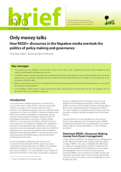 Only money talks: how REDD+ discourses in the Nepalese media overlook the politics of policy making and governance