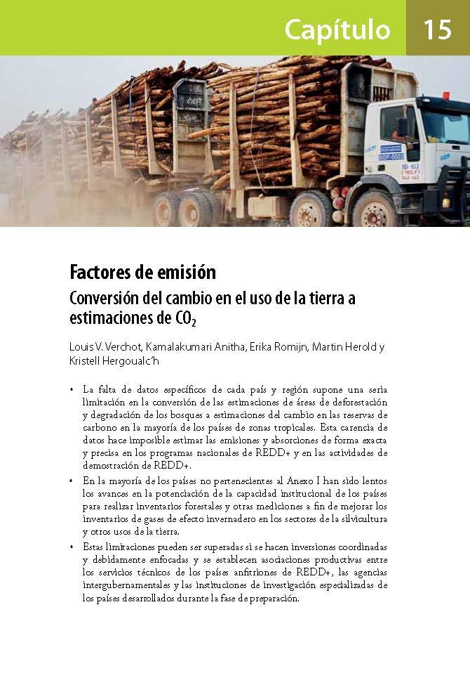 Factores de emision: Conversion del cambio en el uso de la tierra a estimaciones de CO2