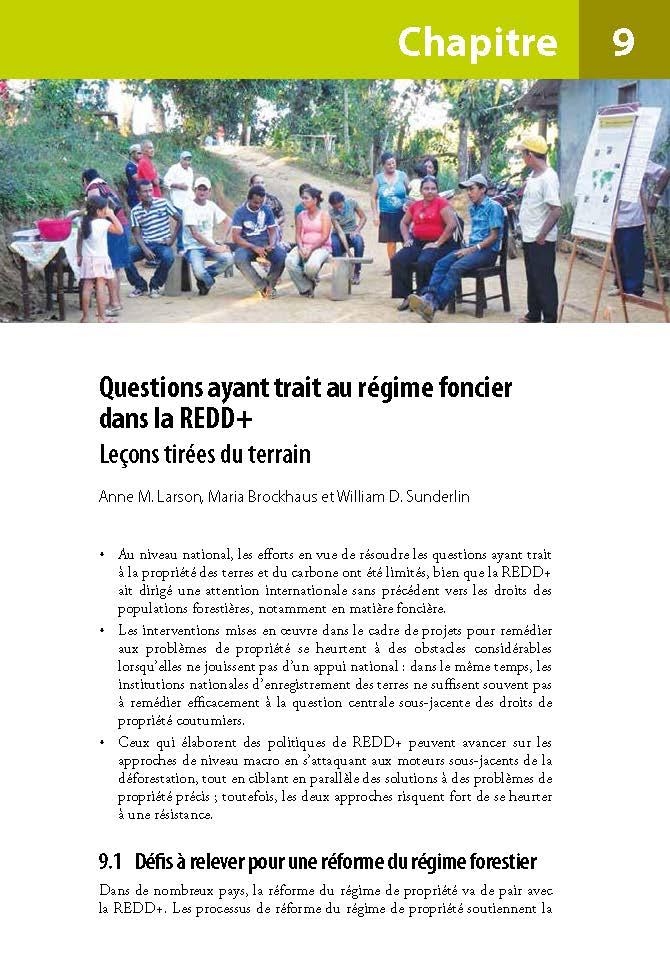 Questions ayant trait au regime foncier dans la REDD+: Lecons tirees du terrain
