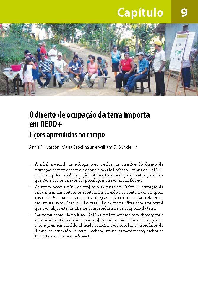 O direito de ocupacao da terra importa em REDD+: Licoes aprendidas no campo