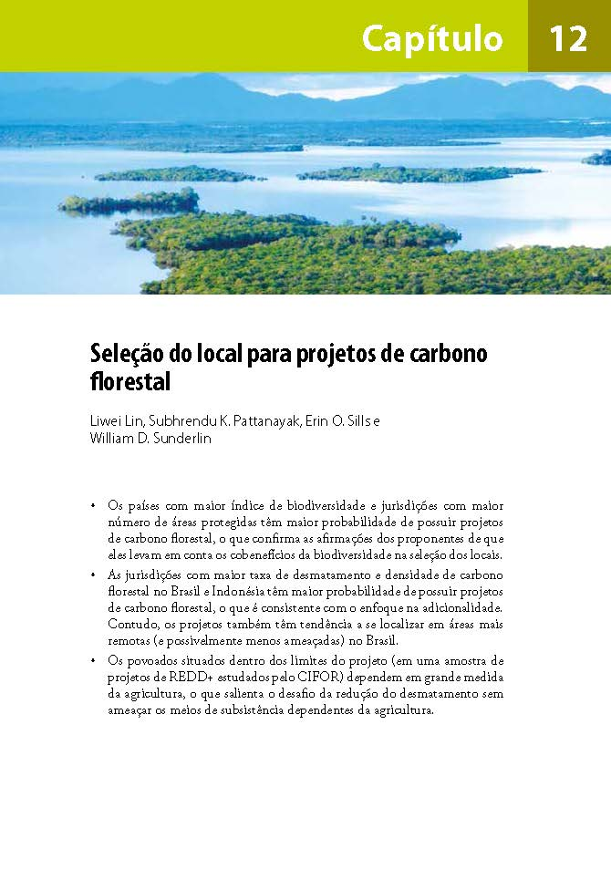Selecao do local para projetos de carbono florestal