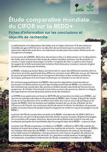Etude comparative mondiale du CIFOR sur la REDD+: Fiches d'information sur les conclusions et objectifs de recherche