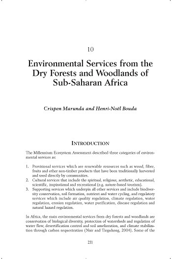 Environmental services from the dry forests and woodlands of Sub-Saharan Africa