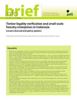 Timber legality verification and small-scale forestry enterprises in Indonesia: Lessons learned and policy options