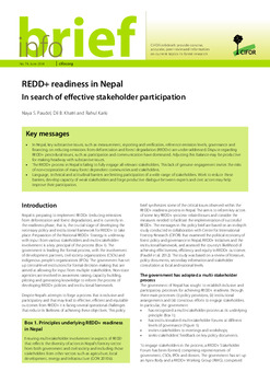 REDD+ readiness in Nepal: In search of effective stakeholder participation