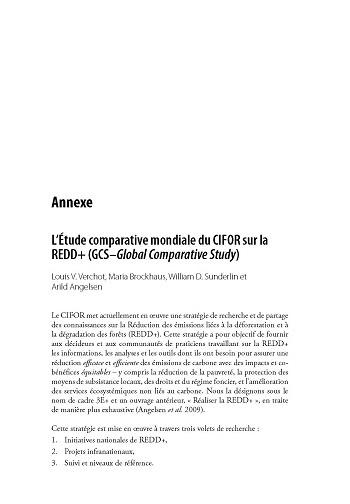 L'Etude comparative mondiale du CIFOR sur la REDD+ (GCS-Global Comparative Study)