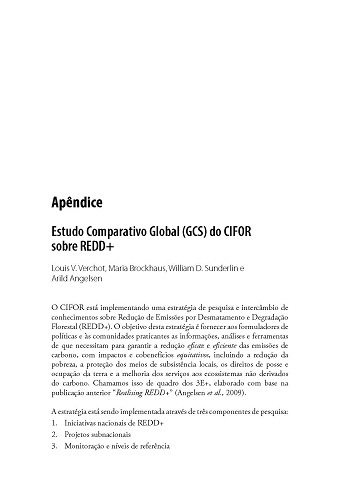 Estudo Comparativo Global (GCS) do CIFOR sobre REDD+