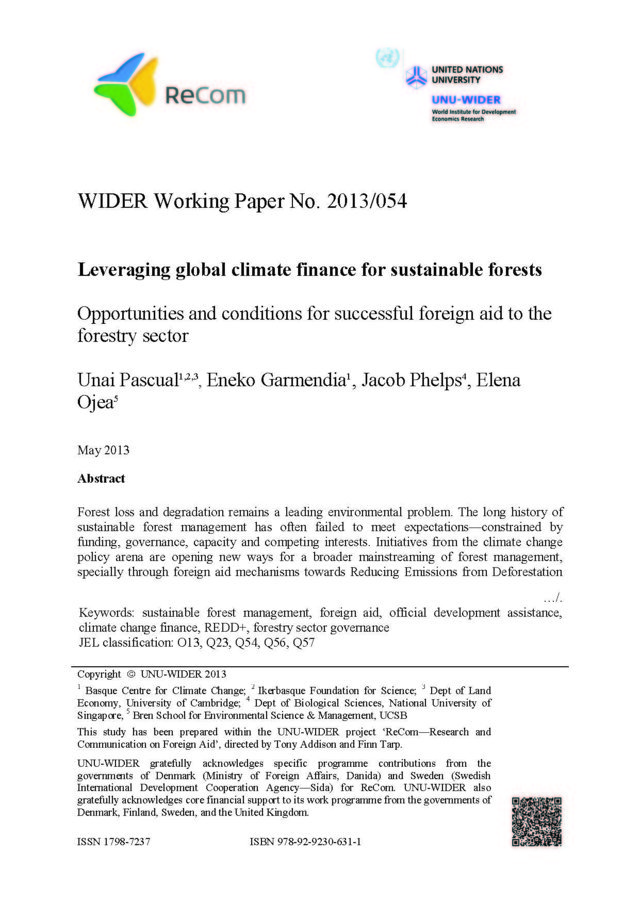 Leveraging global climate finance for sustainable forests: opportunities and conditions for successful foreign aid to the forestry sector