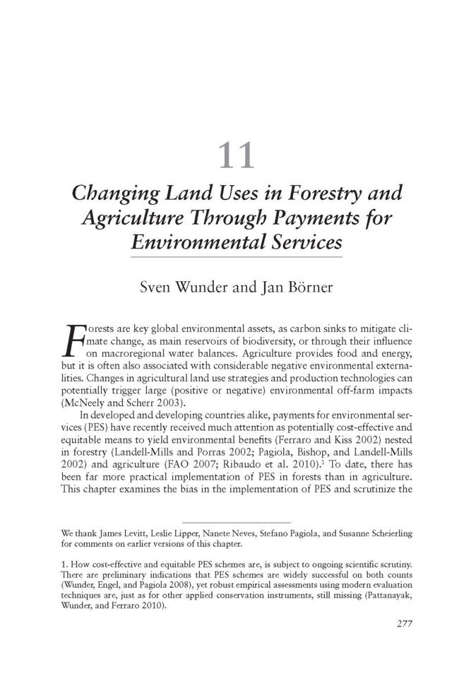 Changing land uses in forestry and agriculture through Payments for Environmental Services