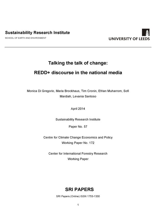 Talking the talk of change: REDD+ discourse in the national media
