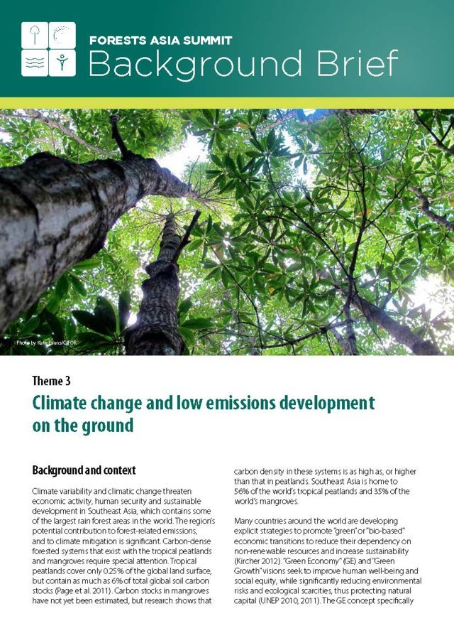 Theme 3 – Climate change and low emissions development on the ground