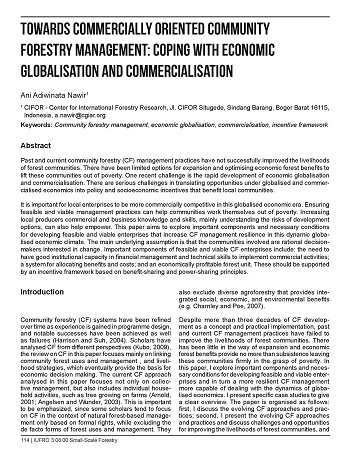 Towards commercially oriented community forestry management: coping with economic globalisation and commercialisation