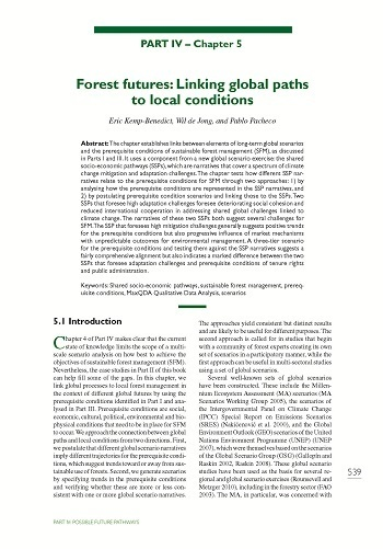 Forest futures: Linking global paths to local conditions