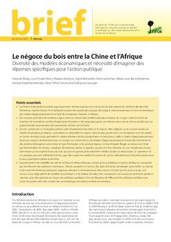 Le négoce du bois entre la Chine et l'Afrique: Diversité des modèles économiques et nécessité d'imaginer des réponses spécifiques pour l'action publique