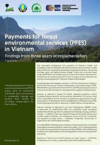 Payment for forest environmental services (PFES) in Vietnam: findings from three years of implementation