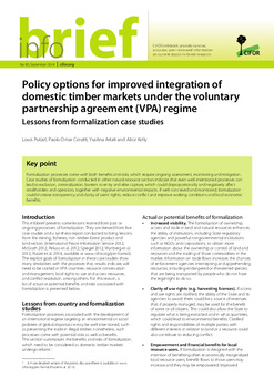 Policy options for improved integration of domestic timber markets under the voluntary partnership agreement (VPA) regime: Lessons from formalization case studies
