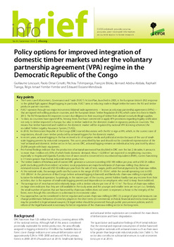 Policy options for improved integration of domestic timber markets under the voluntary partnership agreement (VPA) regime in the Democratic Republic of the Congo