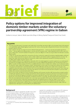 Policy options for improved integration of domestic timber markets under the voluntary partnership agreement (VPA) regime in Gabon