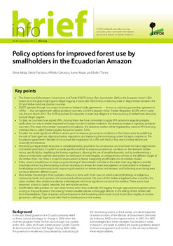 Policy options for improved forest use by smallholders in the Ecuadorian Amazon