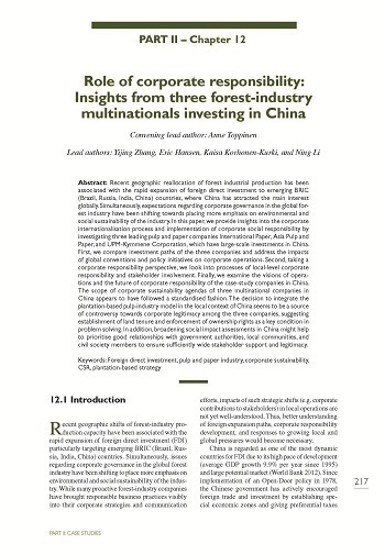 Role of corporate responsibility: Insights from three forest-industry multinationals investing in China