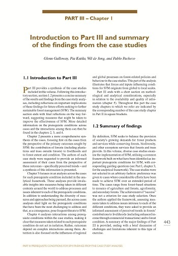Introduction to Part III and summary of the findings from the case studies